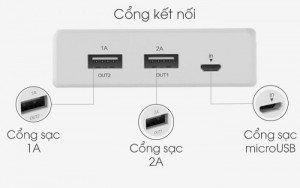 Sản phẩm có 2 cổng USB: 5V - 1A và 5V - 2A có thể sạc hai thiết bị cùng lúc