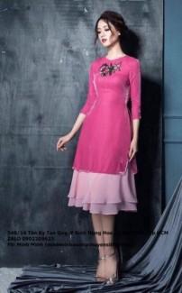 Set áo nhung kết hoa váy voan tầng