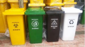 Thùng rác y tế 120 lít, thùng rác y tế màu vàng, thùng đựng rác thải y tế giá rẻ