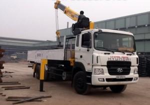 Xe tải gắn cẩu Hyundai 5 tấn, HD120 sức nâng 5 tấn, cẩu Soosan, thùng dài 6m