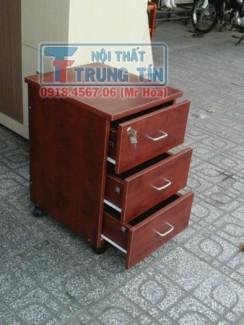 Tủ hồ sơ di động - tủ 3 ngăn di động màu nâu đỏ