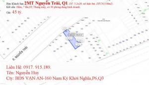 MT Khu Trần Quang Khải,Q1. DT: 7,2x23, trệt, 3 lầu, DTSD:500m2, giá: 22 tỷ.
