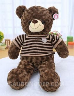 Gấu bông Teddy áo len sọc choco