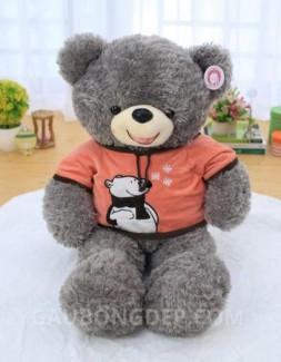 Gấu bông Teddy lông chỉ xám áo cam hình gấu Bắc Cực