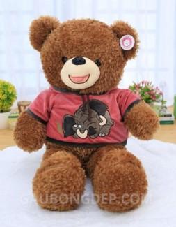 Gấu bông Teddy lông chỉ màu caramel mặc áo hồng hình voi