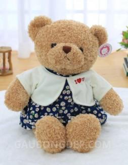 Gấu bông Teddy nữ mặc đầm hoa áo khoác trắng
