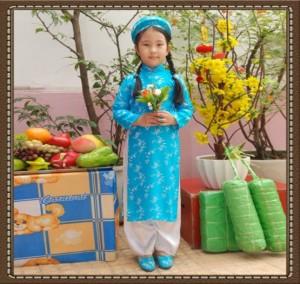 Trọn bộ áo dài truyền thống bé gái