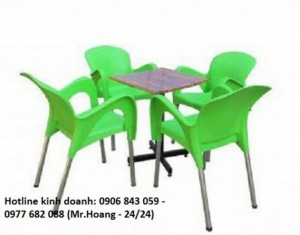 Bộ bàn ghế nhựa đúc cà phê MS2