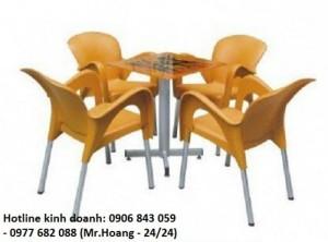 Bộ bàn ghế nhựa đúc cà phê MS5