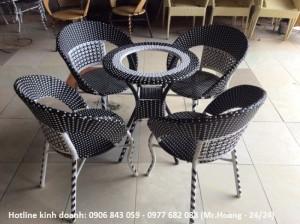 Bộ bàn ghế nhựa giả mây cho kinh doanh cà phê...