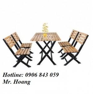 Bộ bàn ghế gỗ xếp chân đen cho kinh doanh quán ăn, nhà hàng