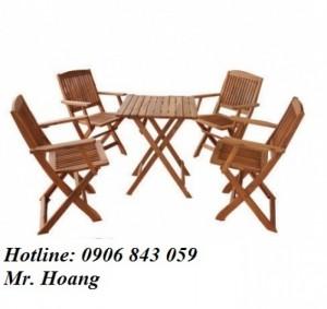 Thanh lý bộ bàn ghế gỗ xếp có tay