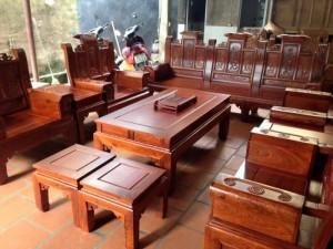 Bộ ghế Âu Á hộp quấn thư 10 món gỗ hương vân