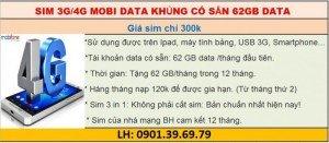 Sim 3G/4G Mobi Data Khủng Có Sẵn 62Gb Data