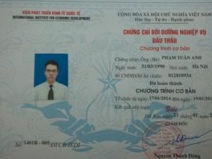 Chứng chỉ Đấu thầu Thông tư 03/2016 đăng tải...