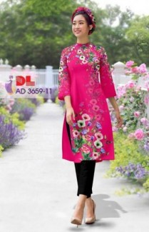 Vải áo dài bộ cách tân rừng hoa Vải áo dài Kim Ngọc