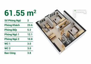 Bán căn hộ giá 14,5tr/m2, diện tích: 45,3m2, 60,52m2 , 62,28m2, 62,13m2, 61,55m2, 69,38m2, ngân hàng hổ trợ vay 70%.