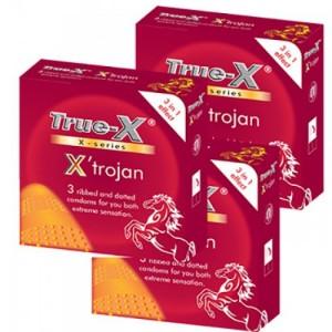 Combo 3 hộp Bao cao su 3 trong 1 X'trojan