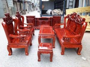 Bộ bàn ghế trạm nghê đỉnh gỗ xà cừ