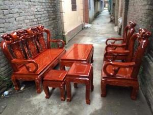 Bộ bàn ghế phòng khách trạm đào gỗ xà cừ tay 10