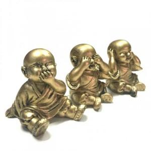 - Bộ Ba Tượng Đá Chú Tiểu Tam Không (Vàng Nhũ Đồng), Dài 18 x Rộng 6 x Cao 7 (cm), Giá 185.000₫.