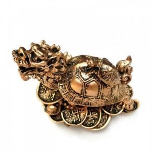 Tượng Đá Long Quy Phong Thủy (Màu Nhũ Đồng), Dài 12 x Rộng 8 x Cao 10 (cm), Giá 180.000₫.