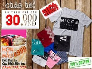 Xưởng áo thun bỏ sỉ TPHCM D&Li siêu khuyến mãi mùa hè hơn 10000 áo thun cao cấp 100% Cotton giá chỉ 30k