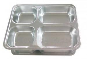 Khay cơm inox 4 ngăn, khay cơm phần, khay inox 304