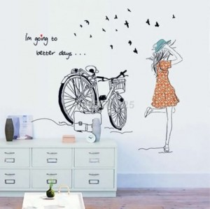 Decal cô gái xe đạp