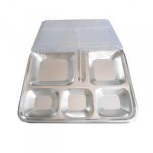 Khay ăn inox 6 ngăn, khay cơm inox công nghiệp, khay inox 6 ngăn