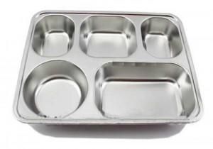 Khay inox 304 5 ngăn, khay cơm inox nhập khẩu, khay ăn inox 304, khay cơm phần 304