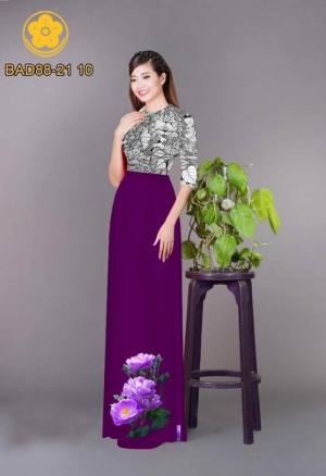 Vải áo dài cách điệu phần ngực lá cùng hoa bông tà