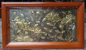 Tranh đồng phù điêu hoa sen 80x 155cm