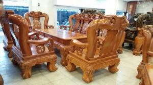 Bộ salon gỗ đào tay 18 , 10 món