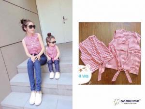 Áo đôi kẻ đỏ, chất liệu thô Hàn