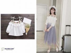 Áo đôi thêu hoa, chất liệu thô Hàn