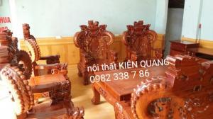 Bộ ghế Rồng Đỉnh Tay 12 gỗ hương vân 6 món