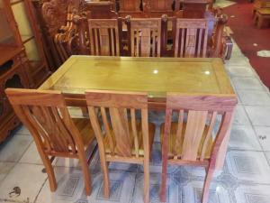 Bộ bàn ăn gõ đỏ kiểu hiện đại 6 ghế-BBA28