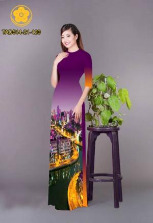 Vải áo dài phong cảnh thành phố