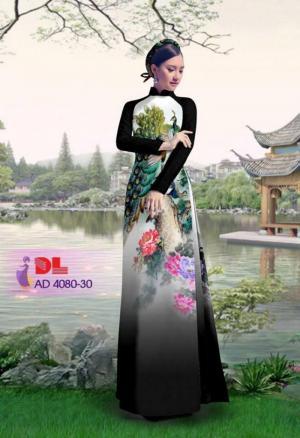 Vải áo dài Chim Công và hoa mẫu đơn