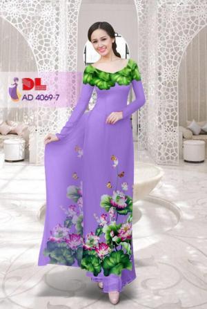 Vải áo dài hoa sen