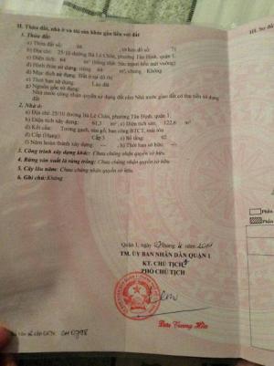 Bán Gấp Nhà 25/10  Bà Lê Chân, P.Tân Định, Q.1