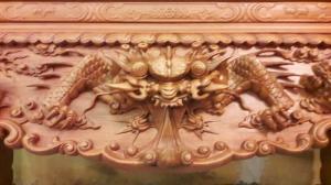 Sập thờ tứ linh, gỗ gõ đỏ chân 16-SD73