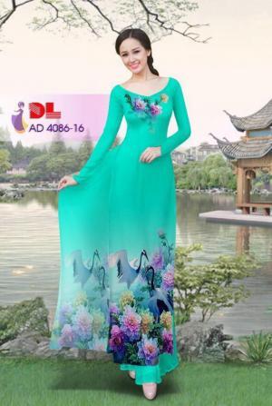 Vải áo dài Hoa mẫu đơn và Hạc