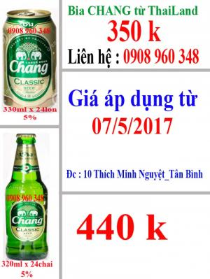 Bia CHANG nhập khẩu từ Thailand