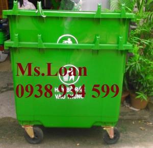 Xe thu gom rác 660 lít 4 bánh xe nhỏ,xe rác 660 lít nhựa HPDE,thùng rác 660 lít 4 bánh xe