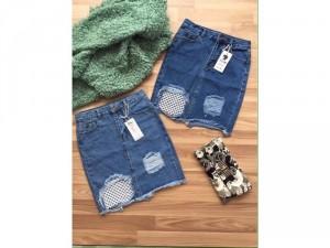 Váy jeans phối lưới
