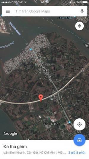 Cần bán gấp lô đất mặt tiền 30m, vị trí đẹp, gần đường cao tốc, cần Giờ, DT 4000m2. Giá 700.000 đồng/m2