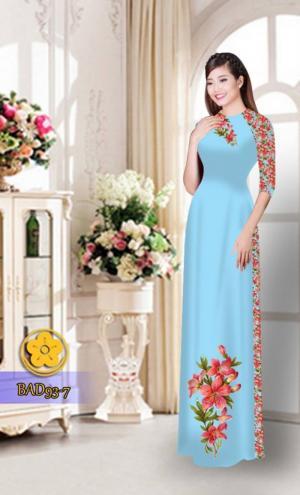 Vải áo dài với quần hoa xinh xắn
