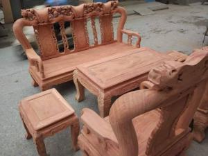 Bộ Bàn Ghế Giả Cổ Quốc Đào ( gỗ hương đá ) bộ tay 10 và bộ tay 12